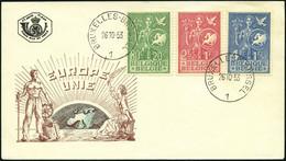 BELGIEN 976-78 BRIEF, 1953, Büro Der Europäischen Jugend Auf FDC, Pracht, Mi. 100.- - Cartas