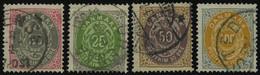 DÄNEMARK 28-31YA O, 1875-77, 20 - 100 Ø, Normaler Rahmen, Wz. 1Y, 4 Prachtwerte, Mi. 157.- - Used Stamps
