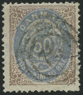 DÄNEMARK 30IYAa O, 1875, 50 Ø Braun/blauviolett, Feinst, Mi. 250.- - Used Stamps