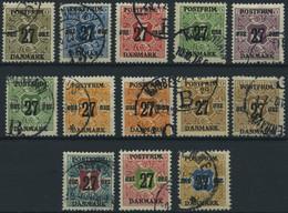 DÄNEMARK 84-96 O, 1918, 27 Ø Aufdruck, Prachtsatz (13 Werte), Mi. 250.- - Used Stamps
