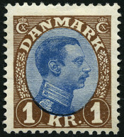 DÄNEMARK 128 *, 1922, 1 Kr. Braun/blau, Type I (Facit 161a), Falzreste, Pracht, Facit 600.- Skr. - Used Stamps