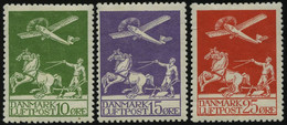 DÄNEMARK 143-45 *, 1925, Flugpost, Falzreste, Prachtsatz - Used Stamps