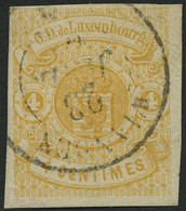 LUXEMBURG 5 O, 1860, 4 C. Gelb, Kabinett, Gepr. U.a. Drahn, Mi. (220.-) - Officials