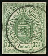 LUXEMBURG 10 O, 1859, 371/2 C. Grün, K2 VIANDEN, Pracht, Signiert Gebrüder Senf, Mi. 250.- - Officials