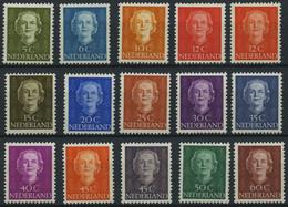 NIEDERLANDE 525-39 *, 1949/51, Königin Juliana, Falzrest, Prachtsatz - Unused Stamps
