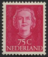 NIEDERLANDE 582 **, 1951, 75 C. Rot, Pracht, Mi. 110.- - Unused Stamps