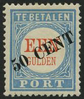 PORTOMARKEN P 27III *, 1906, 50 C. Auf 1 G. Hellblau/rot, Type III, Falzrest, Pracht, Mi. 160.- - Postage Due