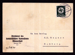 DR Brief Dienst Von MÜNNERSTADT - Bamberg - 12.6.40 - Dienst Mi.135 - Officials