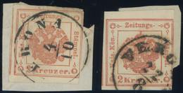 ZEITUNGSSTEMPELMARKEN 2 BrfStk, 1859, 2 Kr. Rot, 2x, Je Einseitig Berührt Sonst Pracht, Mi. 140.- - Journaux