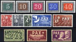 SCHWEIZ BUNDESPOST 447-59 **, 1945, PAX, Prachtsatz, Endwerte Gepr. Marchand, Mi. 450.- - Unused Stamps