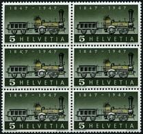 SCHWEIZ BUNDESPOST 484II **, 1947, 5 C. 100 Jahre Eisenbahn Mit Abart Fehlende Speiche Im Antriebsrad, Im Sechserblock M - Unused Stamps