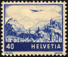 SCHWEIZ BUNDESPOST 507b *, 1948, 40 C. Schwärzlichkobalt, Falzrest, Pracht - Unused Stamps