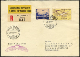 LUFTPOST SF 49.4. BRIEF, 28.4.1949, Pro Aero Sonderflug ST.GALLEN-LA CH`-DE-FONDS, Frankiert Mit U.a. Mi.Nr. 518, Pracht - Erst- U. Sonderflugbriefe