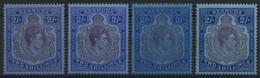 BERMUDA-INSELN 111a-c *, 1938-43, 2 Sh., Gezähnt 14, 4 Verschiedene Werte, Falzrest, Pracht - Bermudas