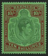 BERMUDA-INSELN 114a *, 1938, 10 Sh. Dunkelbraunrot/grün Auf Grün, Gezähnt 14, (SG 119), Pracht - Bermudas