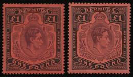 BERMUDA-INSELN 116b *, 1943, 1 £ Schwarz/braunpurpur, Gezähnt 14, (SG 121b Und E), Falzrest, 2 Prachtwerte - Bermudas