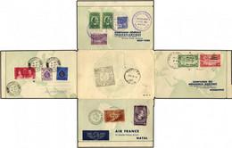 BRASILIEN 21.10.1937, NATAL-NEW YORK - Weltrundflug Der Air France, Mit 4-Länderfrankatur (Brasilien, USA, Hong Kong Und - Aéreo