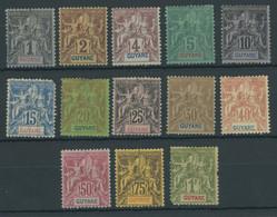 FRANZÖSISCH-GUYANA 29-41 *, 1892, Kolonialallegorie, Falzreste, Satz In Unterschiedlicher Erhaltung, Mi. 230.- - Unclassified