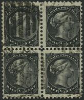 KANADA 25A VB O, 1882, 1/2 C. Schwarz Im Viererblock, Pracht - Oblitérés