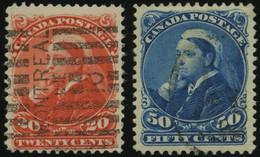 KANADA 36/7 O, 1863, 20 Und 50 C. Königin Viktoria, 2 Prachtwerte, Mi. 135.- - Oblitérés