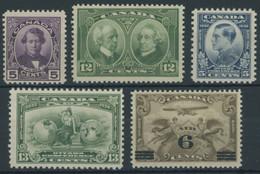 KANADA 124/5,160/1,169 **, 1927-32, 5 Verschiedene Postfrische Werte, Pracht - Otros