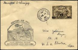 KANADA 169 BRIEF, 11.12.1934, Erstflug BERESFORD LAKE-WINNIPEG, Prachtbrief, Müller 261a - Aéreo