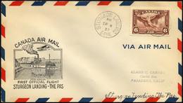 KANADA 196 BRIEF, 8.9.1937, Erstflug STURGEON LANDING-THE PAS, Prachtbrief - Aéreo