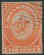 KANADA - NEUFUNDLAND 2b O, 1860, 2 P. Orange (SG.-Nr. 10), Zweiseitig Berührt Sonst Lupenrandig, Sehr Farbfrisch, Feinst - 1857-1861