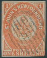 KANADA - NEUFUNDLAND 9b O, 1860, 1 Sh. Orange (SG.-Nr. 15) Untere Rechte Ecke Minimal Tangiert Sonst Vollrandiges Pracht - 1857-1861