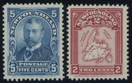 KANADA - NEUFUNDLAND 66/7 *, 1899/1908, 5 C. König Georg V Und 2 C. Landkarte, Falzrest, 2 Prachtwerte, Mi. 95.- - 1857-1861