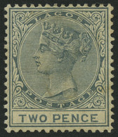 LAGOS 14 *, 1884, 2 P. Graublau, Wz. CA Einfach, Falzreste, Pracht, Mi. 95.- - Unclassified