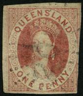 QUEENSLAND 1 O, 1860, 1 P. Braunkarmin, Rechts Unten Leicht Berührt Sonst Voll-breitrandig Pracht, Mi. 1300.- - Gebraucht