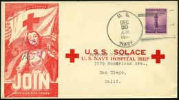 FELDPOST 1941, Offizieller Umschlag Des Hospitalschiffes U.S.S. SOLACE Mit K1 U.S. NAVAY Und Zensurstempel, Pracht - Cartas