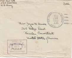 COVER. US ARMY POSTAL SERVICE. PASSED BY EXAMINER. 16 DEC 42. INDIA - Cartas