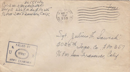 COVER. US ARMY POSTAL SERVICE. PASSED BY EXAMINER. 11 8 45. POSTA SERVICE FREE - Cartas