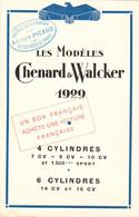 """PUBLICITE-AUTOMOBILE- Les MODELES CHENARD & WALCKER 1929- 4 Et 6 CYLINDRES- """"Agence PICAUD""""-MOUTIER-ROZEILLE (Creuse) - Reclame"""