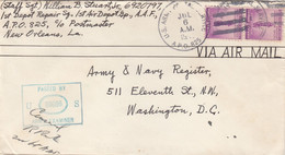 COVER. US ARMY POSTAL SERVICE. PASSED BY EXAMINER. 6 7 47. APO 825. ALBROOK A F BASE - Cartas