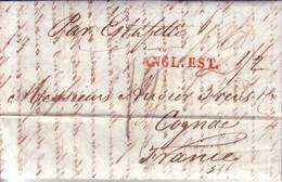 """ANGL.EST - GRIFFE EN ROUGE - TAXE 13 BLEU - MENTION MANUSCRITE """"PAR ESTAFETTE"""" - LETTRE AVEC LONG TEXTE 8-2-1833 - 1801-1848: Voorlopers XIX"""