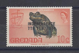"GRENADA..QUEEN ELIZABETH II...(.1952-NOW..)."".1974.."".INDEPENDENCE......7th.FEB.....FROG......10c.....SG599.......MH - Grenada (...-1974)"
