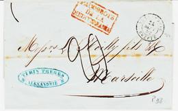 France, D'Alexandrie  Type 15 En 1852 Pour Marseille , Paquebots De La Mediterannée ( Rouge ) Taxe 20 TB - Posta Marittima