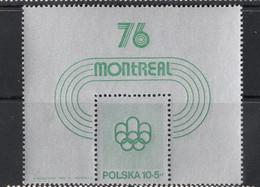Poland, 1975 (#2364b), Sport, Indoor Athletics Katowice, Emblem Of Olympic Games, Montréal '76, Canada - Souvenir Sheet - Summer 1976: Montreal