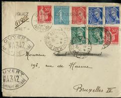 Enveloppe (entière)   Obl. Paris - Plage  - Le Touquet  09/01/40  + Ouverture Par La Censure Pour Bruxelles - Guerra De 1939-45