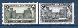 Colonies Françaises Maroc 1923  Variété 2xN°103 Ex N°2  0,60 €   (cote ?  2 Valeurs) - Used Stamps