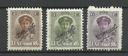 LUXEMBOURG Luxemburg 1922 Michel 109 - 111 * Dienstmarken Officials - Officials