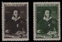 Russia / Sowjetunion 1947 - Mi-Nr. 1109-1110 ** - MNH - Puschkin / Pushkin - Unused Stamps