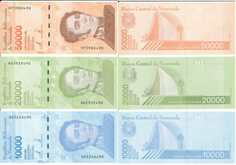 Venezuela - 10000 20000 50000 Bolivar 2019 ( 2020 ) UNC Security Thread - Set 3 Banknotes Lemberg-Zp - Venezuela