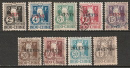 Indochina 1919 Sc J18//J28 Yt T18//T28 Postage Due Partial Set MH*/used Some Disturbed Gum - Postage Due