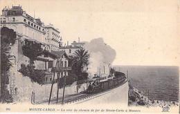 MONACO - MONTE CARLO : La Voie Du Chemin De Fer De Monte Carlo à Monaco ( Train à Vapeur En 1er Plan ) - CPA - Sonstige