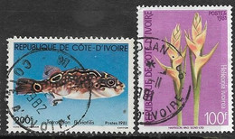 Ivory Coast  1981   Sc#580 Fish & 592 Flower  Used 2016 Scott Value $3.25 - Costa De Marfil (1960-...)