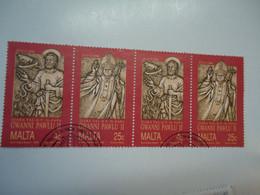 MALTA USED SE TENANT   STAMPS POPES - Papas